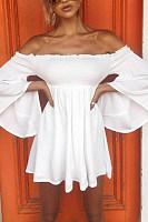 Off Shoulder  Backless  Plain  Bell Sleeve  Long Sleeve Skater Dresses