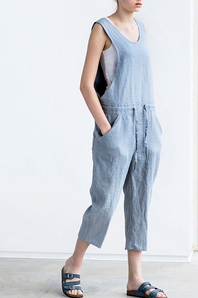 Loose Fitting   Plain  Sleeveless Denim Overalls
