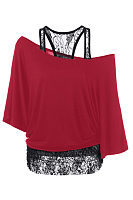 One Shoulder  Lace  Batwing Sleeve T-Shirts