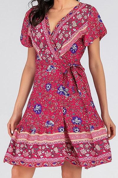 V Neck  Printed  Short Sleeve Skater Dresses