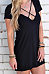 V Neck  Lace Up  Plain  Short Sleeve Casual Dresses