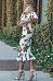 Off Shoulder  Flounce  Floral Printed  Short Sleeve Bodycon Dresses