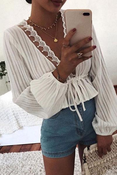 Sexy Deep V Waist Tie Long Sleeve Shirt