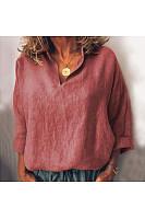 Basic Pure Colour Lapel Bracelet Roll-Up Sleeve Regular Blouse
