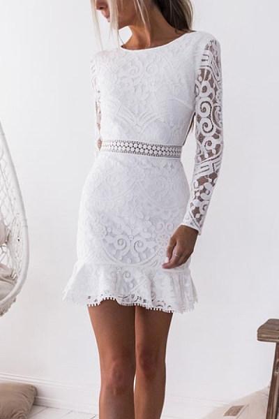Off Shoulder  Backless  Plain  Bell Sleeve  Long Sleeve Bodycon Dresses