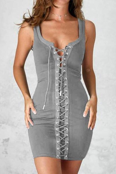 Spaghetti Strap  Drawstring  Plain Bodycon Dresses