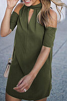 Round Neck  Cutout  Plain  Short Sleeve Casual Dresses