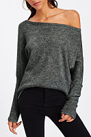 Open Shoulder  Loose Fitting  Plain  Batwing Sleeve  Sweatshirts