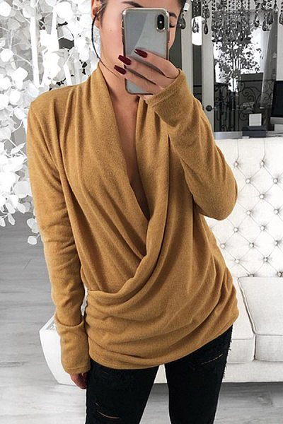 Sexy V Neck Loose Long Sleeve T-Shirt