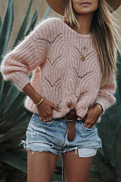 Round Neck  Cutout  Crochet  Plain Sweaters