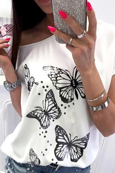 Casual Off-The-Shoulder Short-Sleeved Butterfly Print T-Shirt