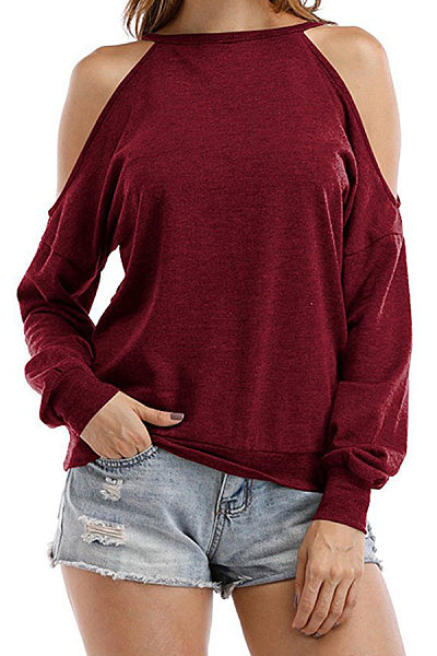 Round Neck Hollow Out Long Sleeve Plain T-Shirts