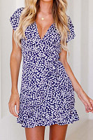 V Neck  Print  Short Sleeve Bodycon Dresses