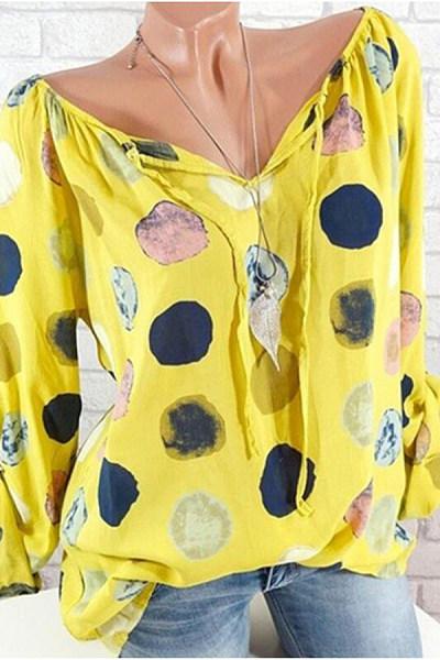 Cute Cuasal Polka Dot Long Sleeve Loose Blouse