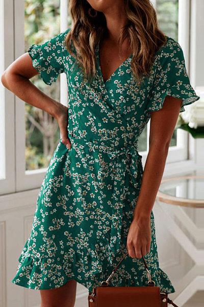 V Neck  Floral Printed  Short Sleeve Casual Dresses