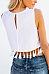 Round Neck  Fringe  Exposed Navel  Plain T-Shirts