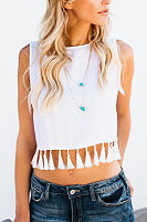 Round Neck  Fringe  Exposed Navel  Plain T-Shirts