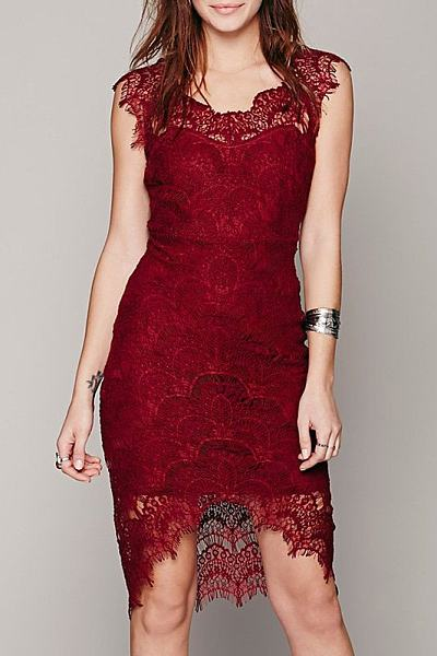 Lace Patchwork Hollow Out Sleeveless Bodycon Dress