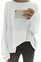 Round Neck  Plain  Batwing Sleeve T-Shirts