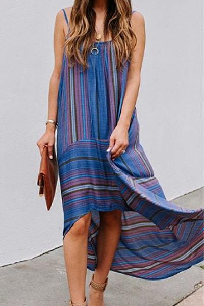 Casual Sling Stripe Irregular Dress
