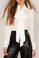 Elegant Bow Plain Blouses