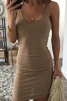 Spaghetti Strap  Backless  Plain  Sleeveless Bodycon Dresses