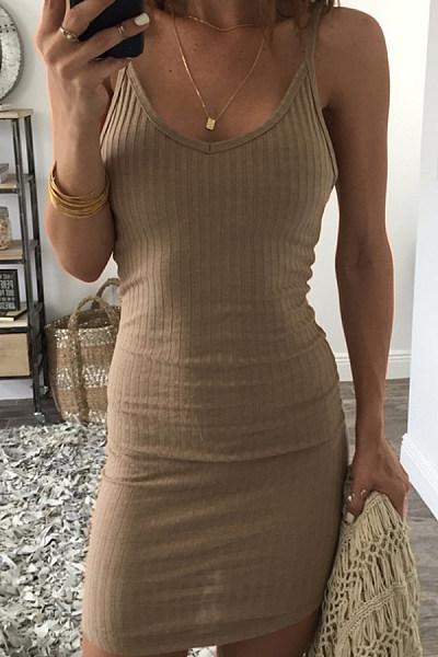 Spaghetti Strap  Backless  Plain  Sleeveless Bodycon Dresses