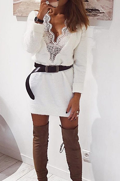 Sexy Solid Color V-Neck Stitching Lace Long-Sleeved Sweater