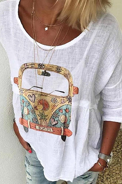 Casual Printed Round Neck Short Sleeve Shirt