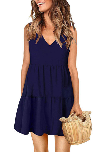 V Neck  Plain  Sleeveless Casual Dresses