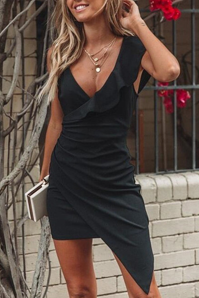 V Neck  Asymmetric Hem  Plain  Sleeveless Bodycon Dresses