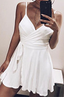 Spaghetti Strap  Backless  Belt  Plain  Sleeveless Skater Dresses