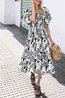 Off Shoulder  Printed  Short Sleeve Maxi Dresses