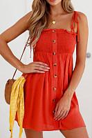 Spaghetti Strap  Decorative Buttons  Plain  Sleeveless Casual Dresses