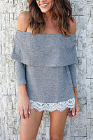 Off Shoulder  Decorative Lace T-Shirts