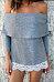 Off Shoulder  Decorative Lace T-Shirts
