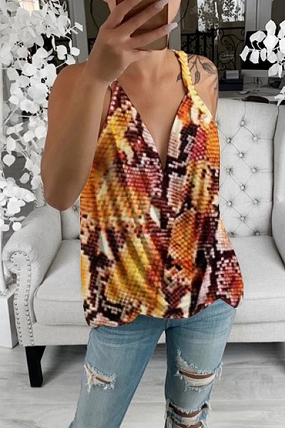 European And American Abstract Style Printed Camis