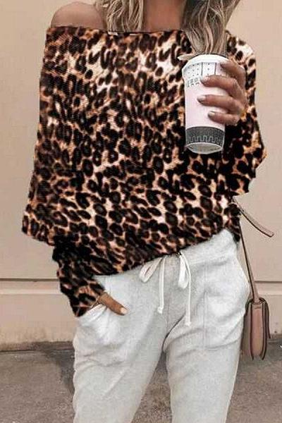 One Shoulder  Leopard  Batwing Sleeve T-Shirts