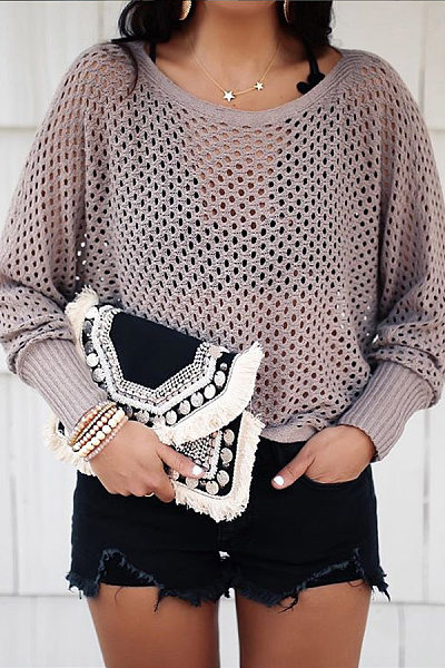 Casual Round Neck Solid Color Cutout Long Sleeve Knit T-Shirt