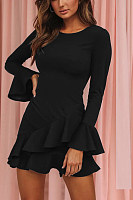 Round Neck  Plain  Long Sleeve  Elegant Bodycon Dresses