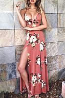 Spaghetti Strap  Backless High Slit  Floral Printed Maxi Dresses