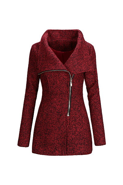Fitted Lapel Zips Woolen Coats