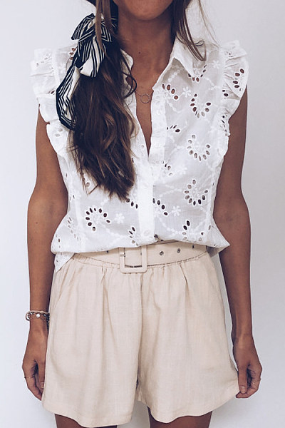 Casual Fold Collar Solid Color Ruffled Lace Openwork Sleeveless Shirt