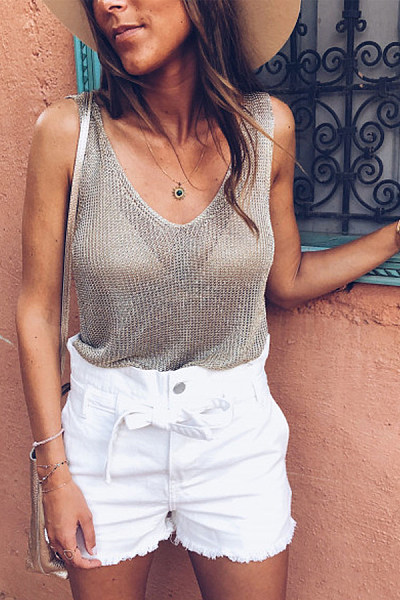 Casual Perspective V-Neck Sleeveless Top
