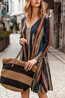 Casual Print Striped V-Neck Pocket Long Sleeve Dress