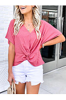 Casual V-Neck Crossed Short-Sleeved T-Shirt