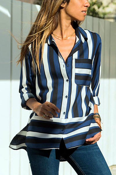 Lapel Pocket Stripes Long Sleeve Fashion Blouses