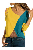Hollow Out Asymmetrical Neck Color Block Long Sleeve T-Shirts