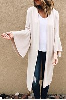 Snap Front  Plain  Bell Sleeve Cardigans