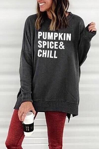 Halloween Round Neck  Loose Fitting  Floral   Sweatshirts